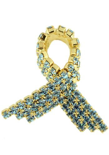 Ovarian Cancer Teal Ribbon Tack Pin w/Swarovski Crystals |