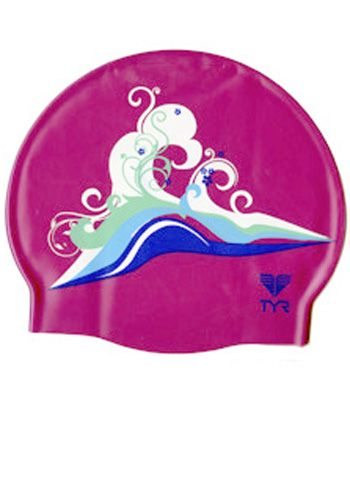 Floral Wave TYR Silicone Swim Cap