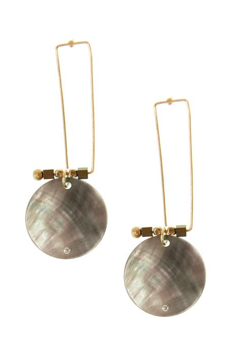 Abstract Abalone Shell Post Earrings   Gold Tone Nickel & Lead Free Earrings  