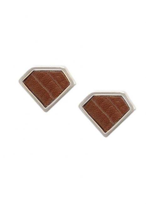 Diamond Leather Stud Earrings | Hypoallergenic Earrings for Men & Women