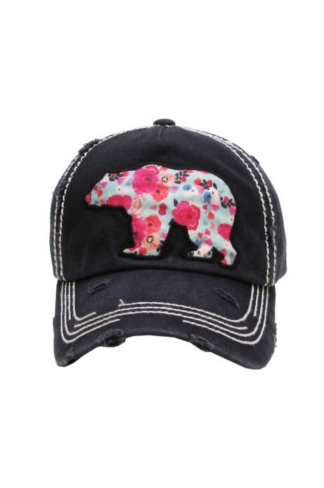 Floral Bear Distressed Baseball Cap   Baseball Caps for Women