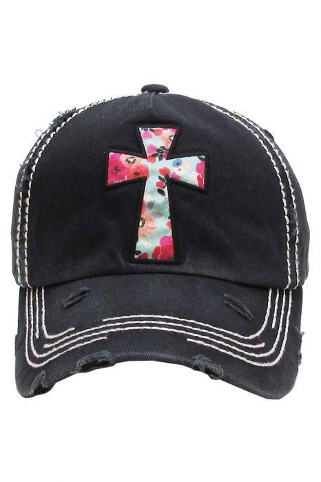 Floral Cross Distressed Baseball Cap | Baseball Caps for Women