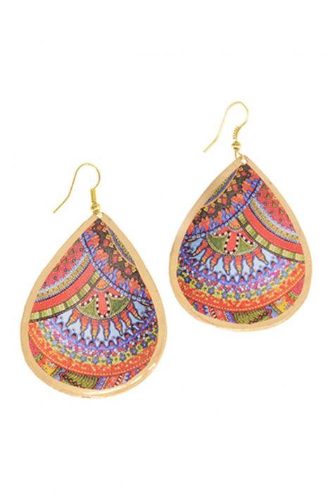 Enamel Disco Teardrop Statement Earrings   Nickel & Lead Free Earrings