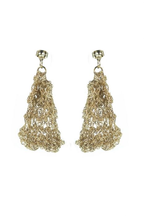 Hand Crocheted Gold Plated Chainmaille Statement Earrings  