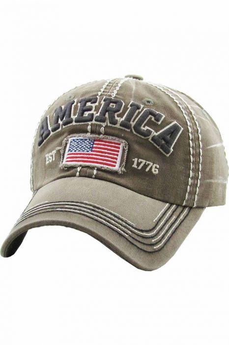 America Vintage Baseball Cap   Distressed Baseball Cap