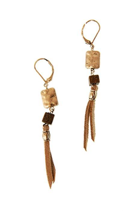 Bead & Leather Tassel Earrings | Nickel Free Hypoallergenic Earrings