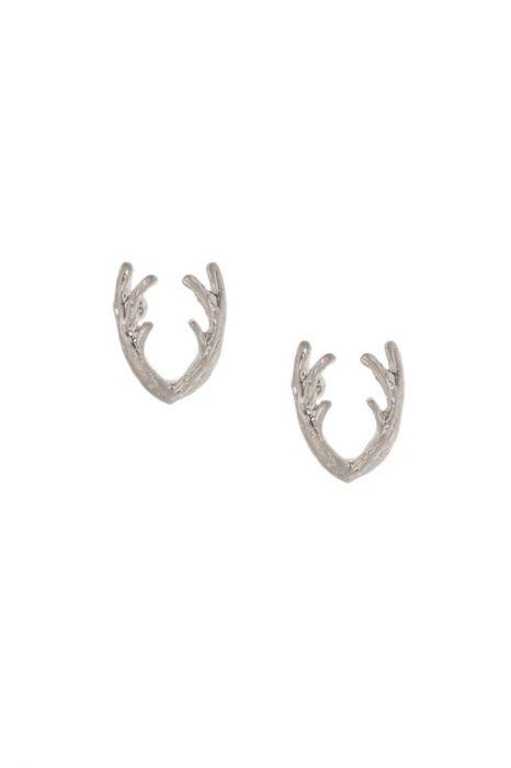 Silver Antler Stud Earrings | Hypoallergenic Earrings for Men & Women |