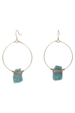 Amazonite Loop Earrings | Natural and Hypoallergenic