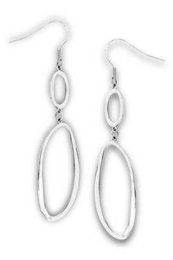Hypoallergenic Earrings - Stainless Surgical Steel Interlocking Asymmetrical Circle Dangle
