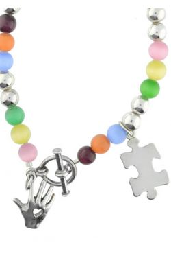 Autism Awareness Bracelet - Sterling Silver, Glass Cat Eye Beads |