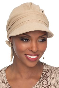 Bailey Newsboy Head Wrap Scarf | 100% Organic Cotton Pre-Tied Scarf with Brim
