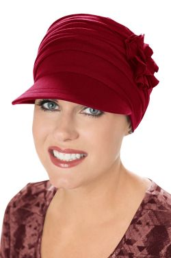 Florette Newsboy Hat in Holiday Bordeaux | Made with Luxury Viscose from Bamboo by Cardani®  Luxury Bamboo - Bordeaux