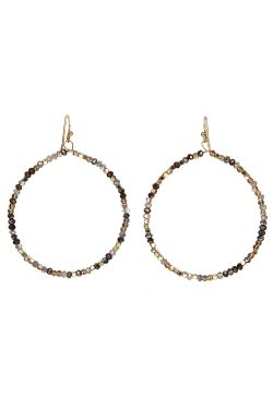 Beaded Crystal Loop Earrings | Crystal Beading and Nickel-Free