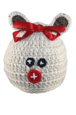 Reindeer Bow Beanie for Girls