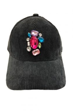 Bejeweled Corduroy Baseball Hat for Fall & Winter