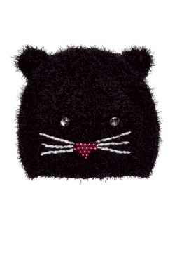 Fuzzy Jeweled Kitty Beanie for Kids