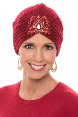 Bejeweled Knit Turban for Women in Red| Embellished Turbans for Fall & Winter
