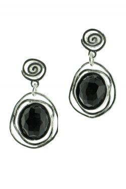 Black Onyx Earrings | Sterling Silver Dangle Post Earrings