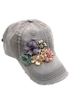3D Bouquet Distressed Baseball Cap | Baseball Caps for Women |