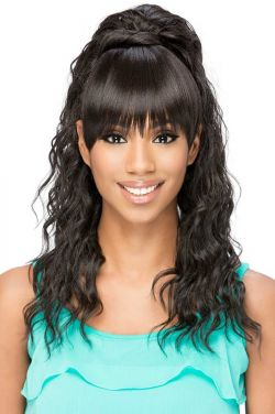 BP-Kennedei Bang and Ponytail by Vivica Fox Wigs - Heat Friendly Synthetic Hairpiece Extension