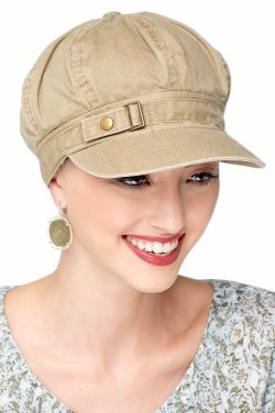 Buckle Newsboy Hat | Womens Distressed Cotton Ball Cap