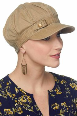 Buckle Newsboy Hat | Womens Distressed Cotton Ball Cap