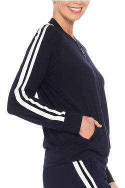 Cardani Striped Track Suit Jacket   Bamboo Viscose Track Jacket for Women