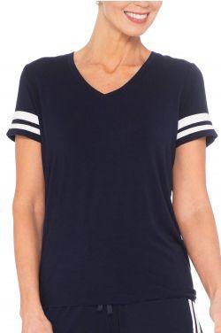 Cardani Stripe Track Suit Tee Shirt   Bamboo Viscose V Neck T Shirts for Women