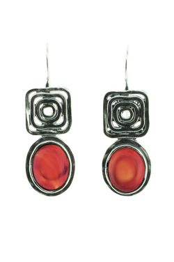 Carnelian Sterling Silver Earrings | Geometric Tribal Design |