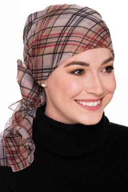 Chiffon Printed Head Scarf in London Plaid