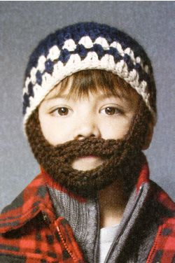 Boys Crochet Beanie with Detachable Beard