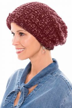 Chunky Knit Slouchy Beanie in Multi Burgundy | Fall & Winter Beanie Caps