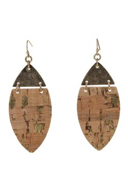 Cork & Gold Leaf Earrings | Hypoallergenic and Nickel Free
