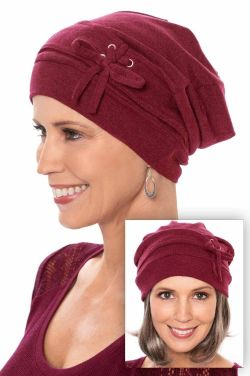 Corset Slouchy Hat in Cabernet | 100% Organic Cotton Slouchy Snood Beanie Cap