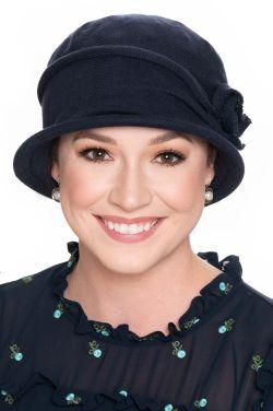 Cotton Knit Rosette Cloche | All Cotton Hats for Women