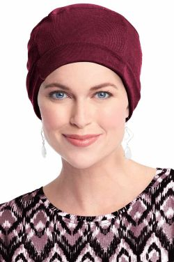 Cozy Cap in Burgundy Wine | Soft All Cotton Hats For Women