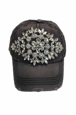 Crystal Glitz Distressed Baseball Cap