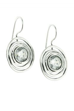 Sterling Silver Cubic Zirconia Spiral Earrings |