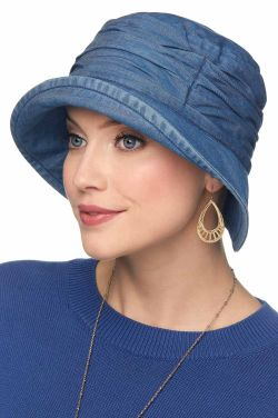 Denim Tencel Pleated Bucket Hat | Bucket Hats for Women