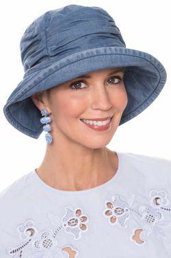 Denim Tencel Pleated Bucket Hat | Bucket Hats for Women