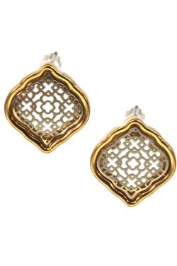 Stainless Steel Earrings | Gold & Rhodium Plated Abstract Damask Filigree Post Earrings