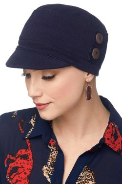 Petite Double Button Jockey Hat | 100% Cotton Knitted Newsboy Hat for Petite Heads