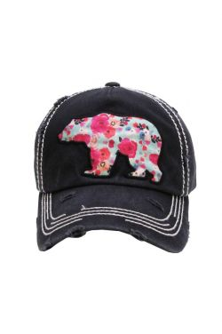 Floral Bear Distressed Baseball Cap | Baseball Caps for Women