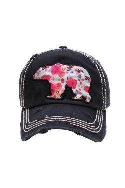 Floral Bear Distressed Baseball Cap | Baseball Caps for Women