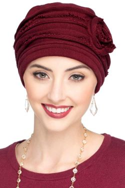 Distressed Rosette Beanie Hat in Bordeaux - All Cotton