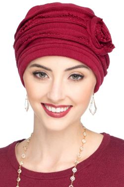 Distressed Rosette Beanie Hat in Red - All Cotton