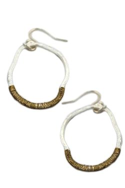 Duo Tone Wire Wrap Hoop Earrings | Nickel Free & Hypoallergenic Earrings