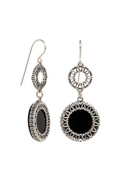 Onyx Boho Dangle Drop Earrings | Sterling Silver Earrings