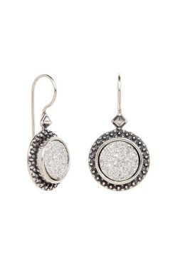 Dazzling Druzy Quartz Hook Dangle | Sterling Silver Earrings