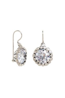 Deep Set Cubic Zirconia Dangle Earrings | Sterling Silver Earrings